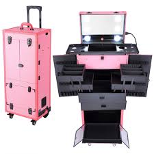 makeup luggage with lights ghp pink 34 x14 x11 rolling multifunction studio makeup case w