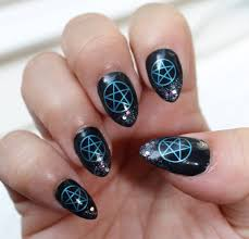pentacle nail art pnb 31 metallic blue pentagram nail decals