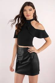 cold shoulder tops black crop top cold shoulder top half shoulder tops 24