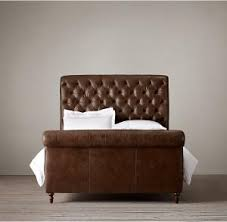 french vintage chesterfield upholstered king leather bed for