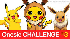 Challenge How To Challenge How To Draw Pikachu In Eevee Onesie Step By