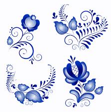 shiny blue flower ornaments vector free millions vectors
