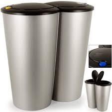 poubelle 2x25 litres poubelle duo bouton poussoir automatique