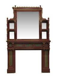 eastlake style wood fireplace mantel with distressed mirror olde