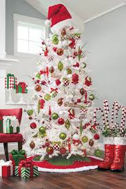 white christmas tree with red and gold decorations house design