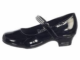 black patent girls low heel dress shoe with rhinestone strap