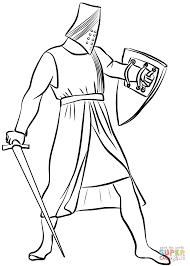helmeted medieval knight coloring page free printable coloring pages