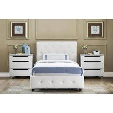 Upholstered Twin Beds Dhp Dakota White Faux Leather Upholstered Twin Bed Free Shipping