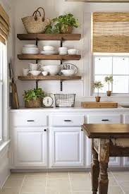 Open Metal Shelving Kitchen by Farmhouse Kitchen Open Shelving Choices The Happy Housie