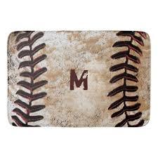 monogrammed vintage baseball bath rug for man cave zazzle com