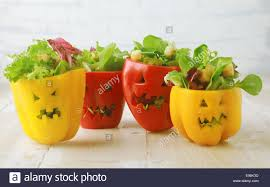 colorful halloween food background with colorful healthy stuffed