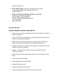 Emt Job Description Resume by Marc Laysa Resume