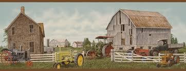 Tractor Barn 879604 Tractor Barn Wallpaper Border Rust Oa8032b U003cbr U003e Clearance