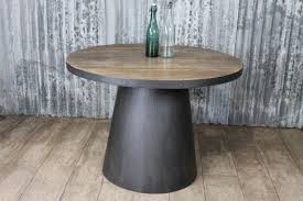 Industrial Pedestal Table Round Pedestal Table With Steel Base Cafe Table