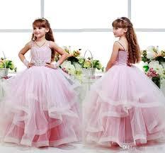 pink glitz flower girls dresses child ball gowns spagheti strap