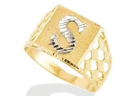 s ring new 14k two tone gold diamond cut letter s initial ring