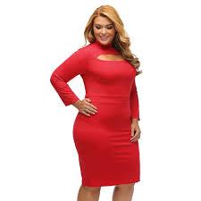 red long sleeve keyhole bodycon plus size dress sidress
