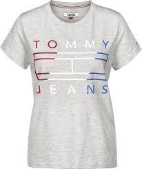 1100 The Flag Jeans Clean Flag Logo W T Shirt Grau Meliert