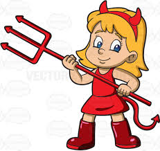 a wearing a devil costume for halloween cartoon clipart