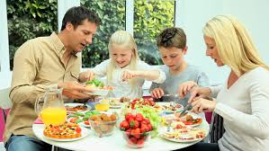 caucasian family healthy lunch together stock footage