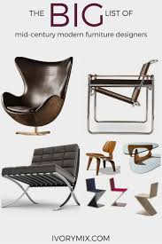 The Big List Of MidCentury Modern Furniture - Modern chair designers
