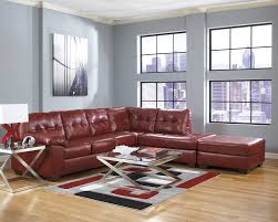 Living Room With Sectional Leather Sectionals Furniture Decor Showroom