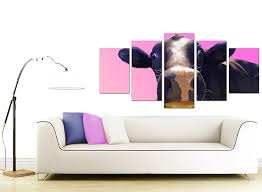 extra large cow canvas wall art 5 piece in pink extra large colourful funky cow pink pop art canvas 5 panel 160cm 5151