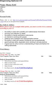Resume Samples With Bullet Points by Optician Resume Resume For Your Job Application