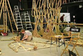 paper on wood lance cardinal into the woods set design