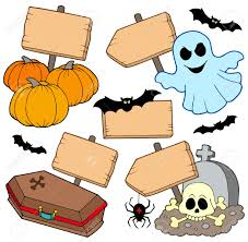 halloween wooden signs collection vector illustration royalty