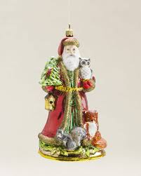 woodland santa blown glass ornament decor ideas