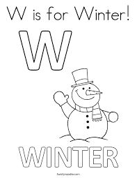 twisty noodle coloring pages w is for winter coloring page twisty noodle