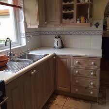 Limed Oak Kitchen Cabinets Reduced Limed Oak Kitchen White Worktops Steel Sink U0026 Taps