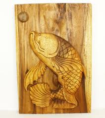 leaping fish wood wall panel wood decor