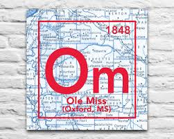 Ole Miss Campus Map Ole Miss Oxford Mississippi Vintage Periodic Map Art Print