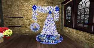 white tree with lights second life marketplace blue n white christmas decor set tree w