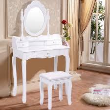 Makeup Vanity Table With Drawers Costway White Vanity Wood Makeup Dressing Table Stool Set Bathroom