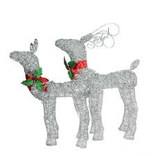 lighted dog christmas lawn ornament amazon com set of 2 led lighted glitter buck and doe reindeer