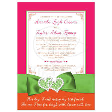 green wedding invitations tropical wedding invitation hot pink orange lime printed