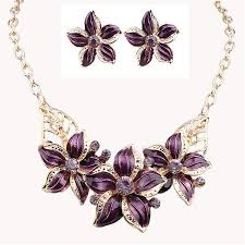 coloured flower necklace images New jewelry sets necklace earrings crystal enamel flower african jpg