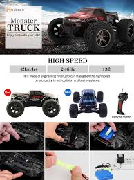 remote control monster truck videos amazon com hukoer remote control car top selling 2 4ghz 1 12