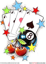 cherry tattoo design with eightball playing cards and stars