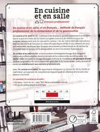 cuisine de reference livre en cuisine et en salle francais professionnel b1 b2 livre