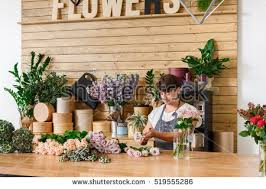 Flower Store Small Business Male Florist Unfocused Flower Stock Photo 554543716