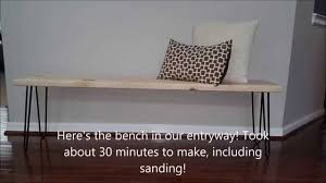 how to make entryway bench diy entryway bench with hairpin legs youtube