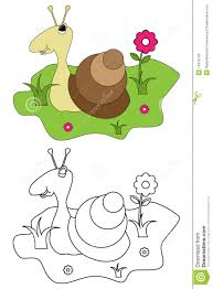 coloring page book for kids snail royalty free stock images
