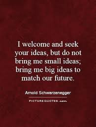i welcome and seek your ideas but do not bring me small ideas