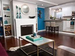 Living Room Vs Family Room by A Blue Accent Wall Provides A Bright Backdrop For A White Brick