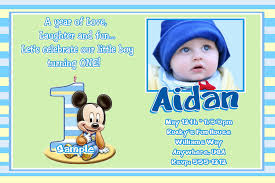 Mickey Mouse 1st Birthday Card Template First Birthday Invitations Boy Mickey Mouse As Well As