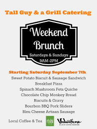 menu for brunch and a grill new carryout brunch menu